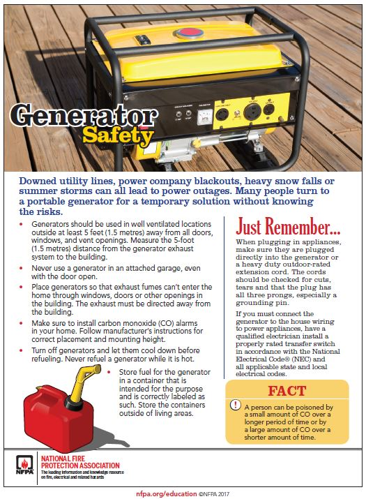 Information about generator safety