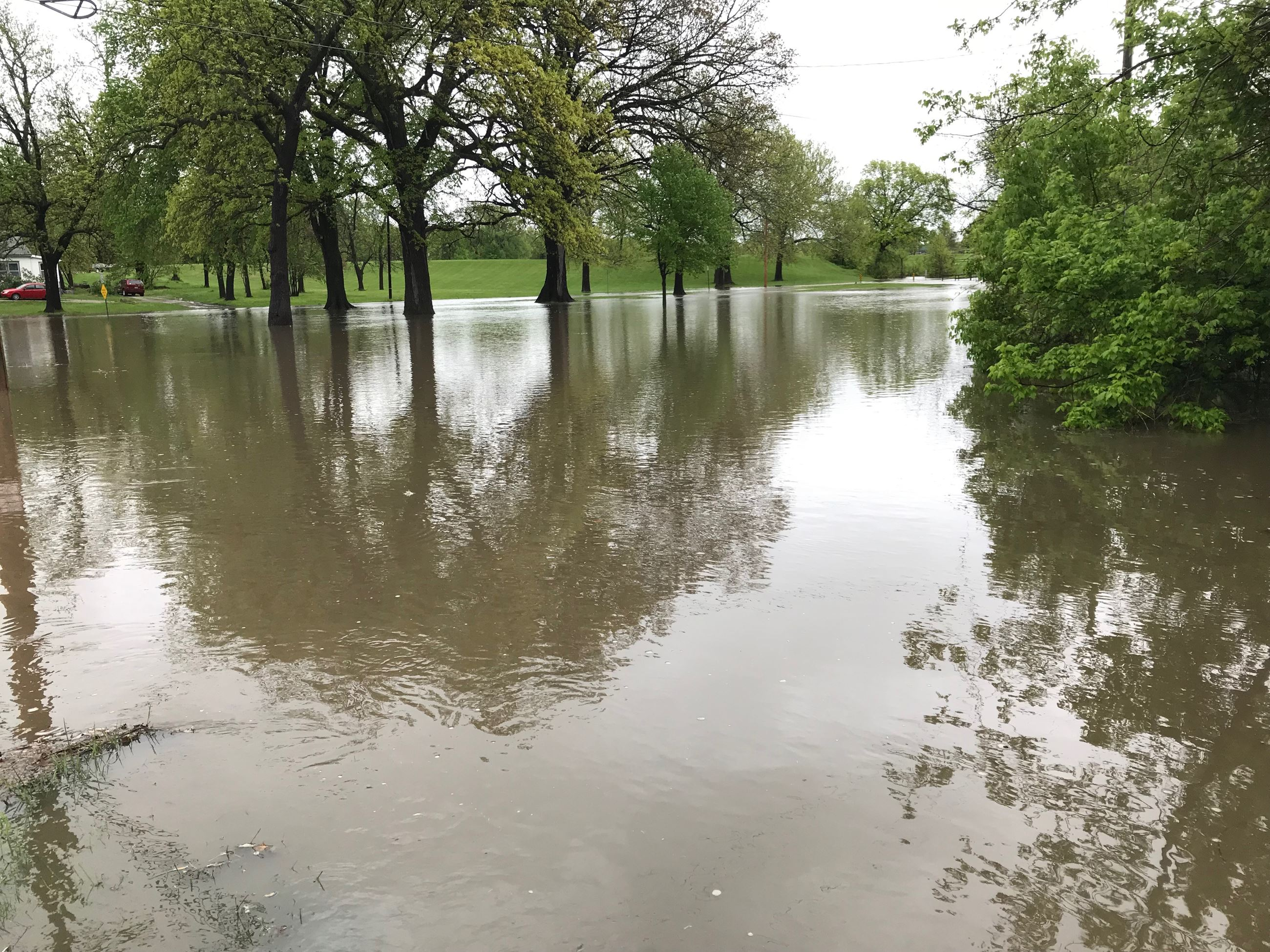 Floodwaters in Harrisonville City Park
