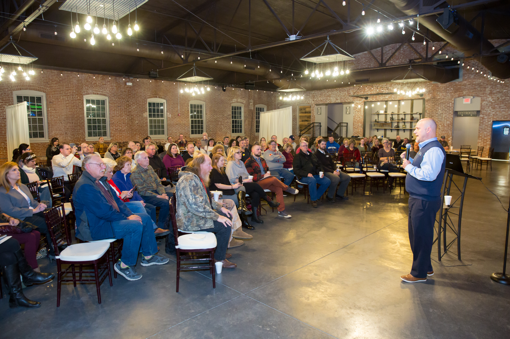 Over 100 people gathered at the Beck Event Space for a town hall meeting to discus the revitalization of the Historic Harrisonville Square.
