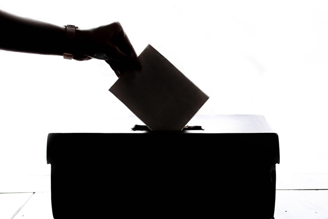 Ballot being placed in ballot box.